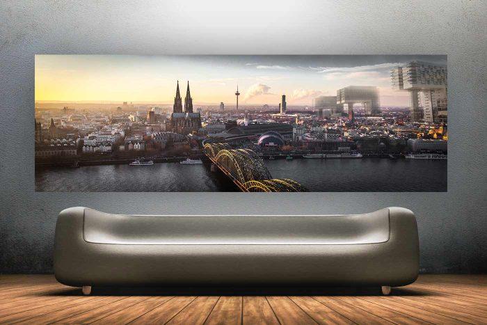 Beautiful Köln Kunst Panorama Bild | Skyline Kunst aus der Dom-Stadt Köln