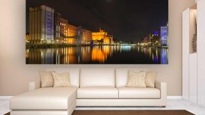 Innenhafen Duisburg bei Nacht | Duisburg Kunst Panorama Bild und Foto Art