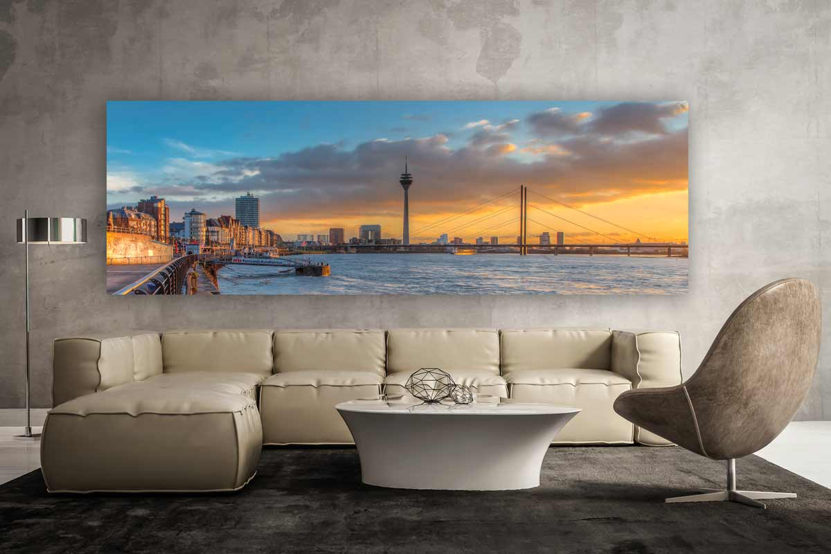d sseldorf panorama skyline bild moderne kunst bilder. Black Bedroom Furniture Sets. Home Design Ideas