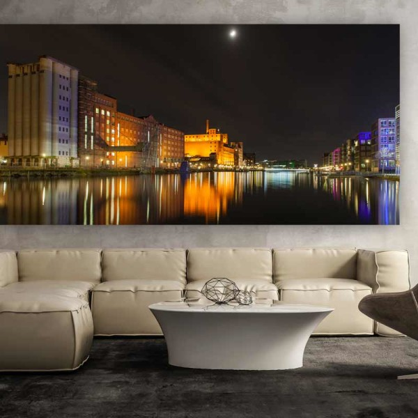 innenhafen duisburg bei nacht duisburg kunst panorama bild und foto art panorama pop art. Black Bedroom Furniture Sets. Home Design Ideas