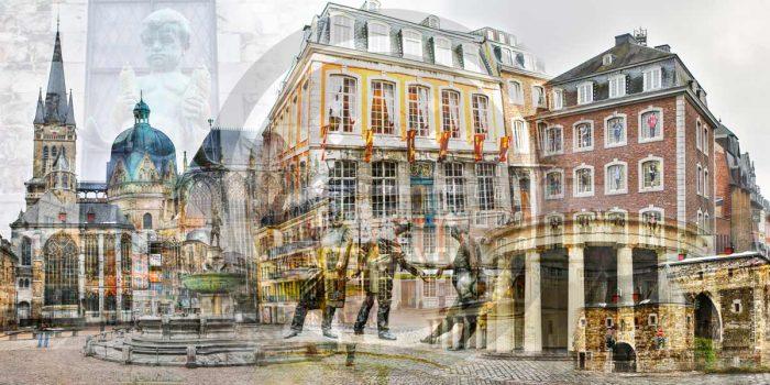 Aachen Collage im Pop-Art Design. Kunst Bilder auf Leinwand und Acryl