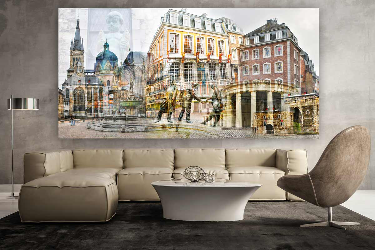 aachen collage im pop art design kunst bilder auf leinwand und acryl. Black Bedroom Furniture Sets. Home Design Ideas