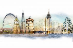 Abstrakte Skyline Ansicht aus Düsseldorf im modernen Panorama Format.