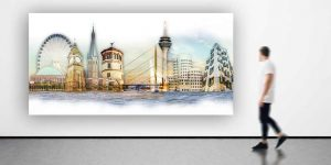 Abstrakte Skyline Düsseldorf am Rhein. Kunst Collage