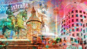 Acryl Collage Düsseldorf Pop-Art Panorama Kunst Motive und moderne Bilder vom Rhein