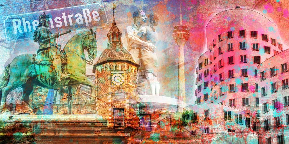 Acryl Collage Düsseldorf Pop Art Panorama Kunst Motive Und Moderne Bilder  Vom Rhein
