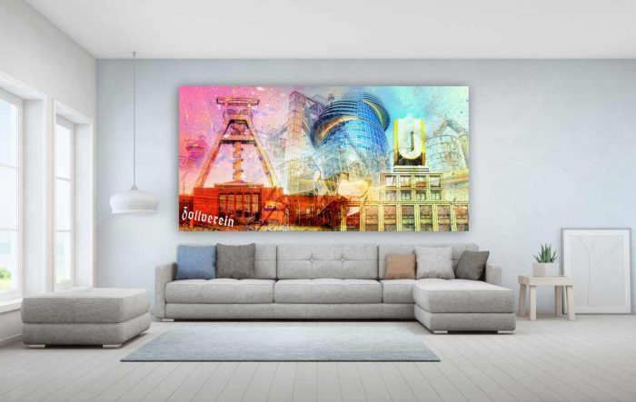 Acrylglasbilder Ruhrgebiet als bunte Panorama Pop-Art Collage.