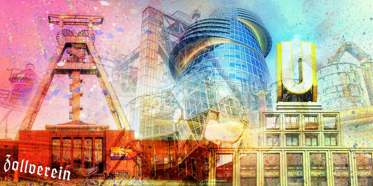 Acrylglasbilder Ruhrgebiet Als Bunte Panorama Pop Art Collage