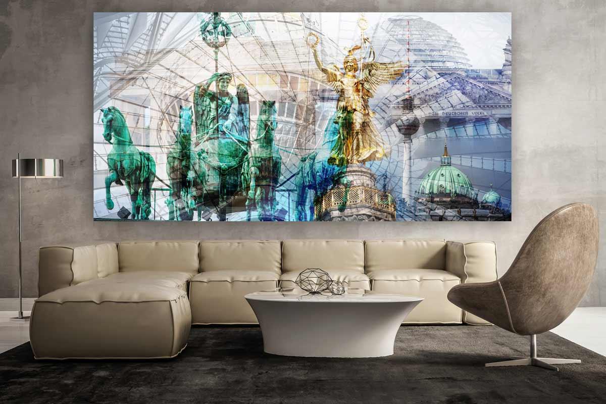 acrylbild berlin panorama pop art kunst bilder auf leinwand und acryl. Black Bedroom Furniture Sets. Home Design Ideas
