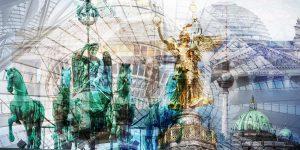 Acrylbild Berlin, Panorama Pop-Art Kunst Bilder auf Leinwand und Acryl