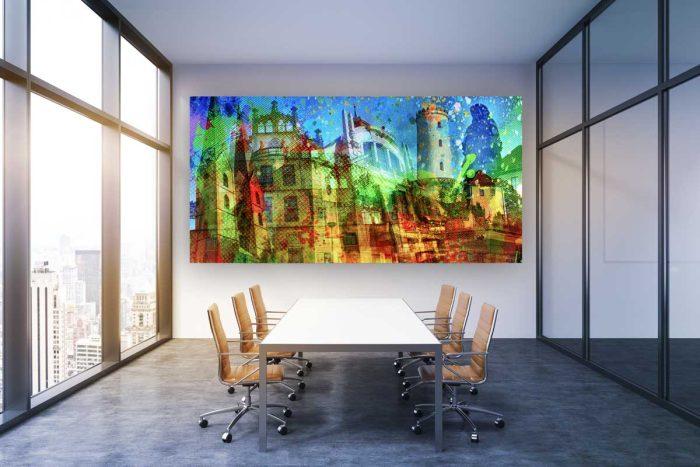 Acrylbild Bielefeld als Pop-Art Panorama Kunstwerk in Galerie Qualität