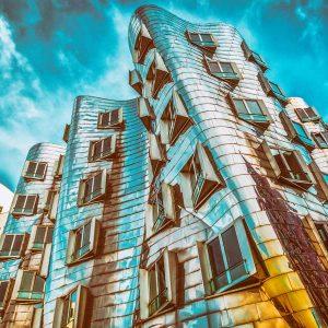Acrylglasbild Düsseldorf Medienhafen am Rhein. Moderne Panorama Art