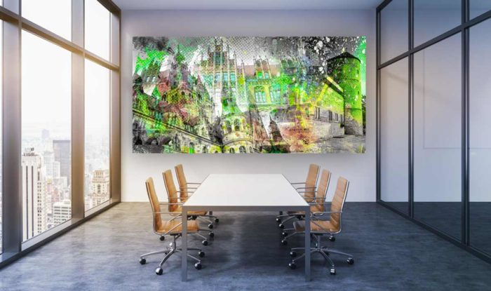 Acrylbild Hannover und Stadt Panorama Motive. Moderne Pop-Art Kunst.