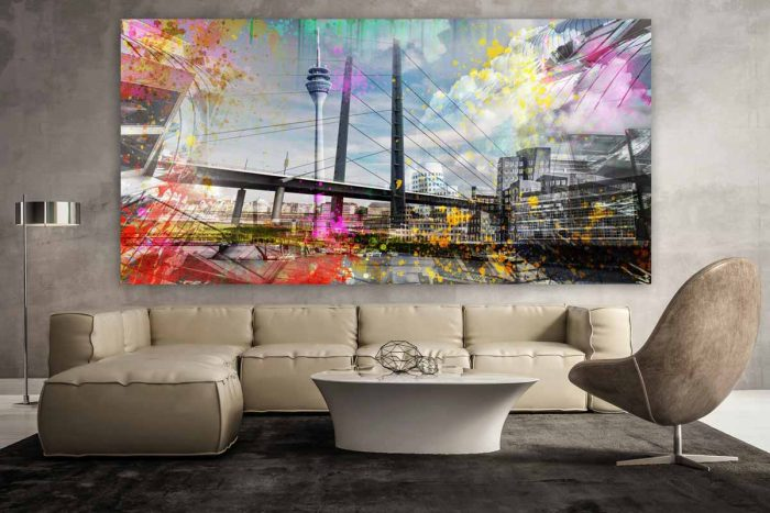 Acrylbild Medienhafen Düsseldorf. Panorama Pop-Art Bilder und Art Motive