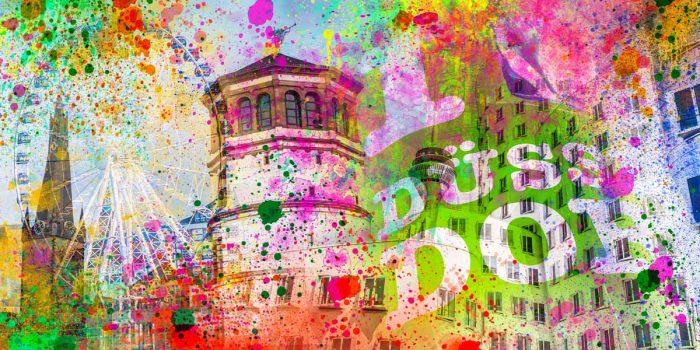 Acrylbilder Altstadt Düsseldorf und Rhein Panorama Collagen und Motive