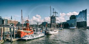 Acrylbilder Elbphilharmonie Hamburg an der Elbe. Panorama Kunst Bilder