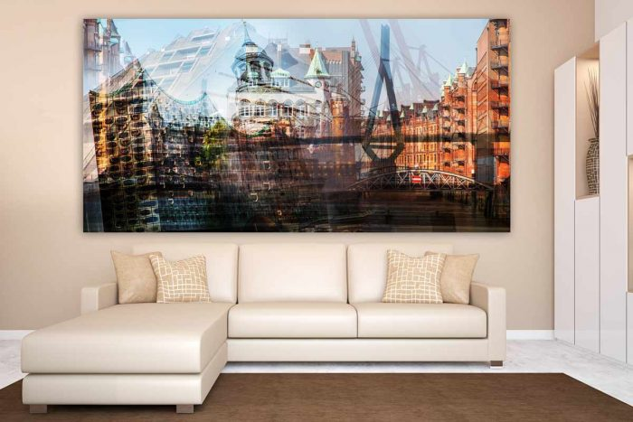 Acrylbilder Hamburg Kunst Collage als Panorama Pop-Art Wandbild