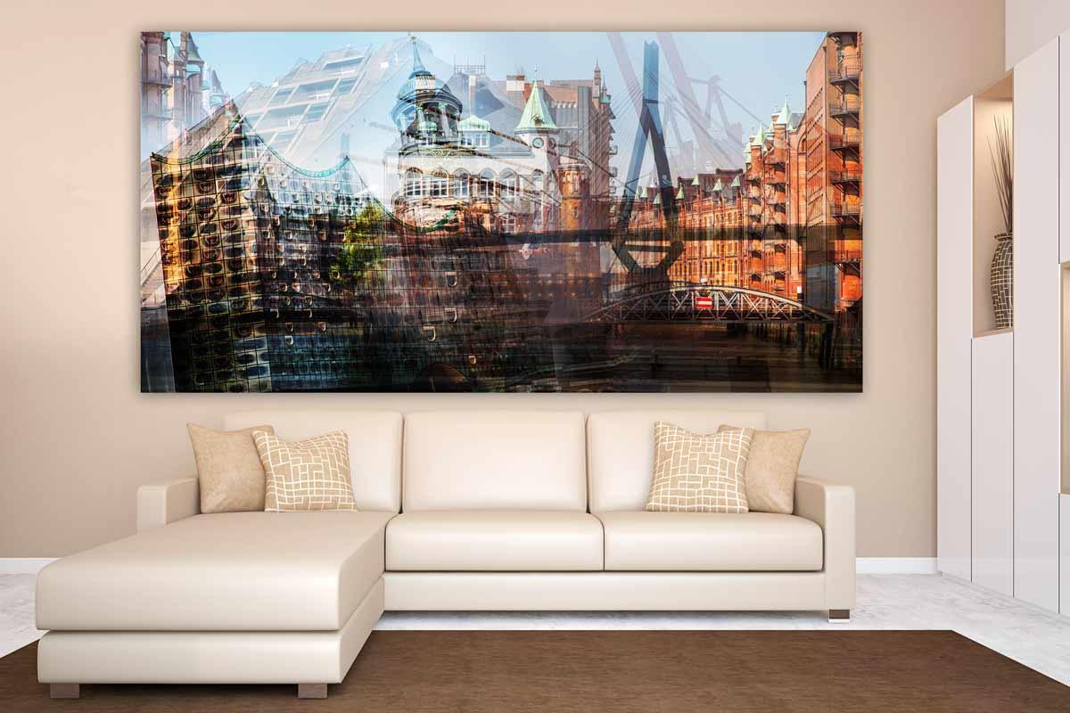 acrylbilder hamburg kunst collage als panorama pop art. Black Bedroom Furniture Sets. Home Design Ideas
