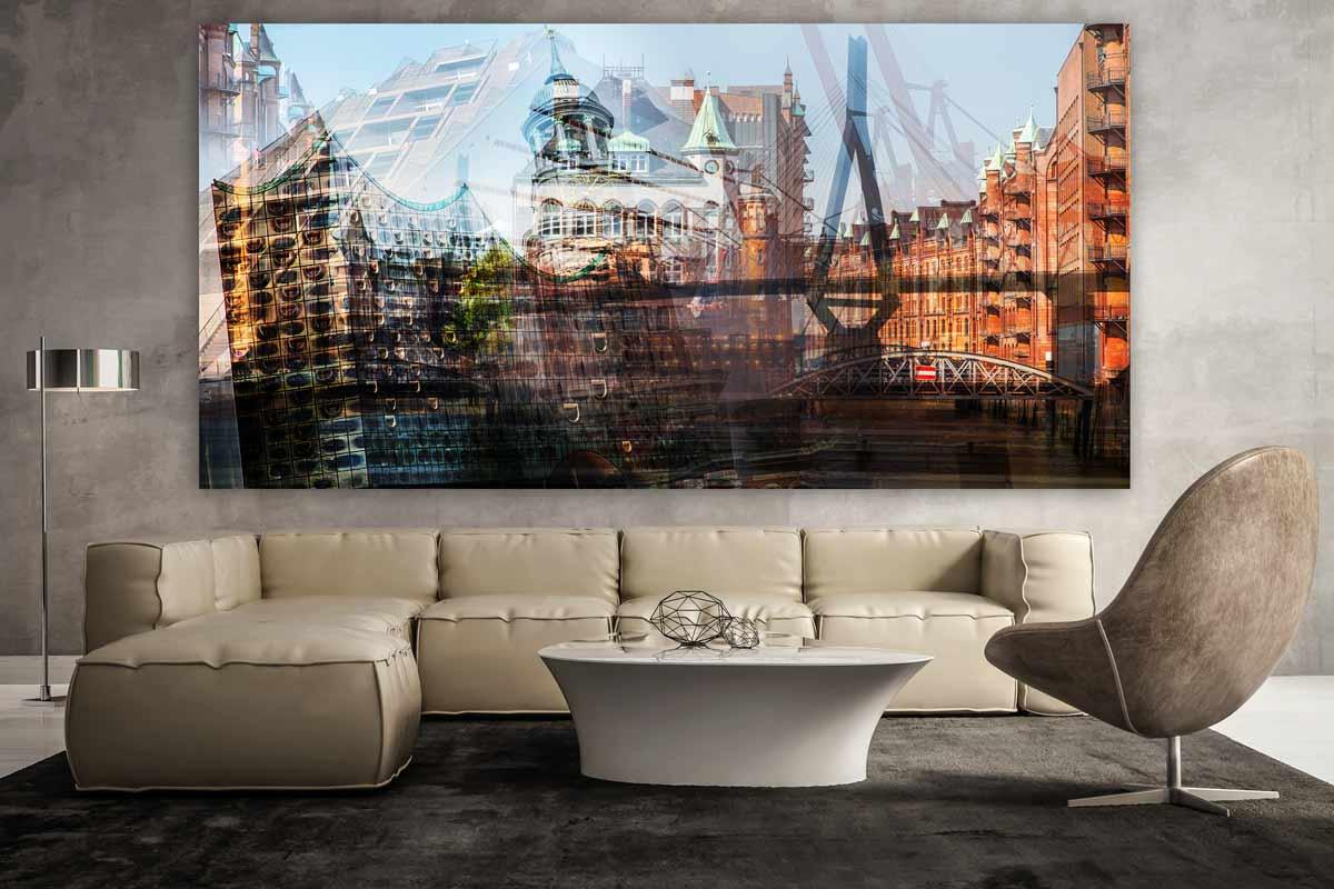 Acrylbilder Hamburg hamburg kunst collage als panorama pop wandbild