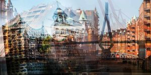 Acrylbilder Hamburg Kunst Collage als Panorama Pop-Art Wandbild