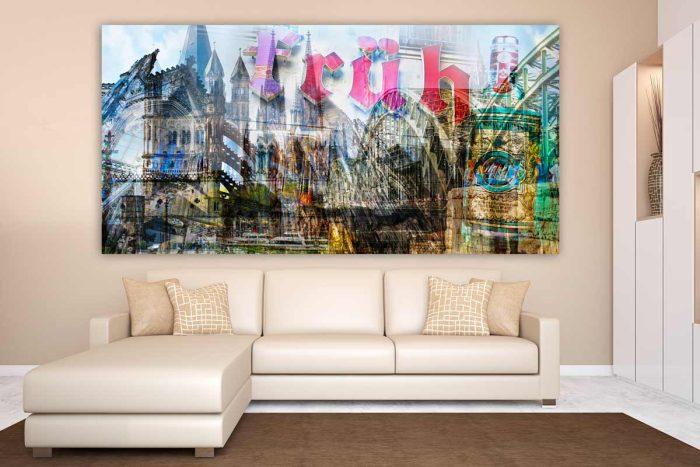 Acrylbilder Köln Collage mit Kölner Dom und Stadt Highlight als Panorama