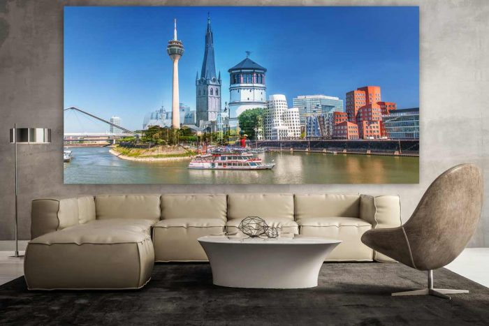 Acrylcollage Düsseldorf mit Medienhafen , Rheinturm und Rhein Panorama
