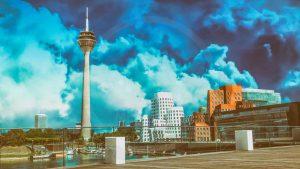 Acrylkunst Düsseldorf Medienhafen Panorama Rhein Bilder und Ansichten
