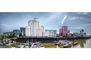 Alu Dibond Düsseldorf | Panorama Bild aus dem Medienhafen