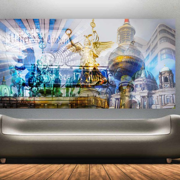 berlin collage pop art style panorama bilder auf alu und. Black Bedroom Furniture Sets. Home Design Ideas