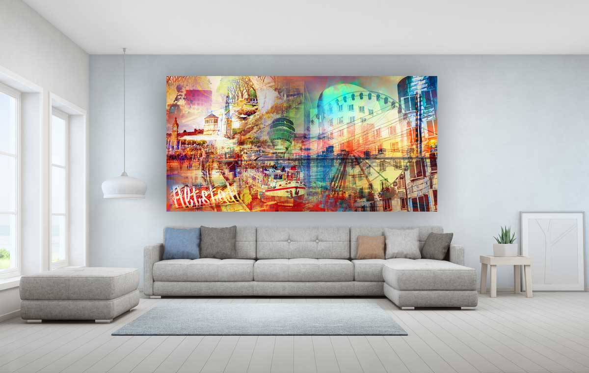 Bild Dusseldorf Auf Acryl Leinwand Und Aluminium Xl Collage Pop Art