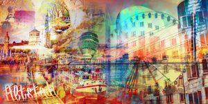 Bild Düsseldorf auf Acryl, Leinwand und Aluminium. XL Collage Pop Art