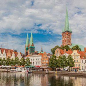 Bilder Lübeck. Panorama Kunstwerke aus d. Stadt m. d. Holstentor.