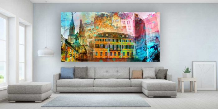 Bonn Panorama Bild als moderne Pop-Art Collage. Premium Kunstbilder