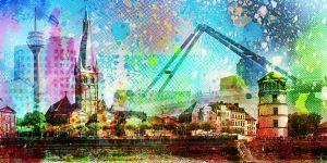 Bürokunst Acrylbilder aus Düsseldorf. XL Panorama Pop-Art Kunstbilder
