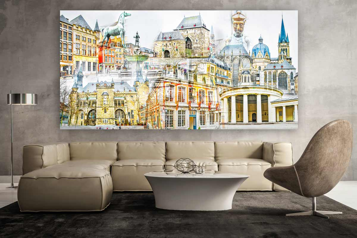 collage aachen im pop art panorama design kunst bilder auf leinwand. Black Bedroom Furniture Sets. Home Design Ideas