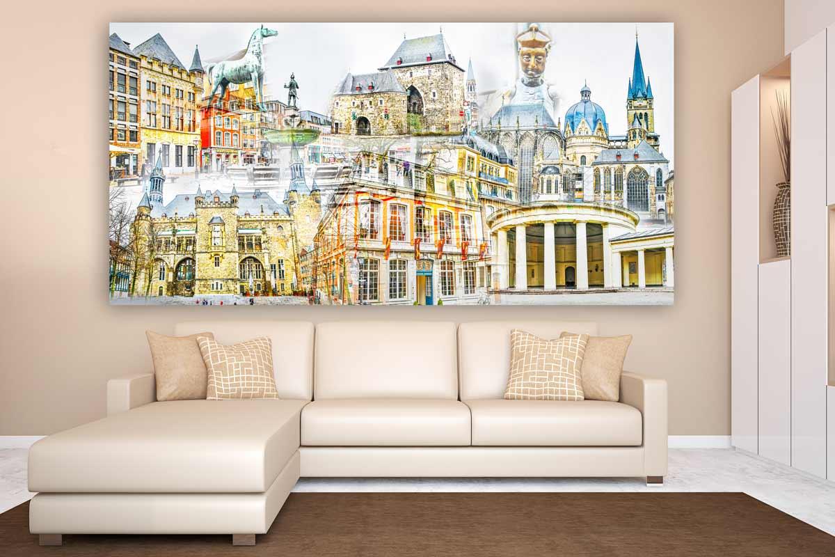 collage aachen im pop art panorama design kunst bilder auf leinwand. Black Bedroom Furniture Sets. Home Design Ideas