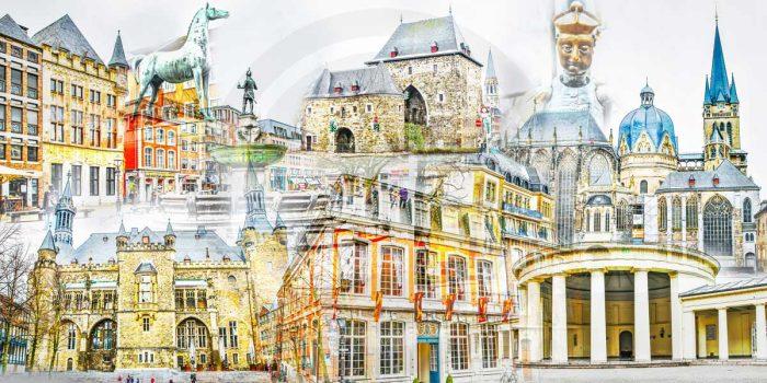 Collage Aachen im Pop-Art Panorama Design. Kunst Bilder auf Leinwand