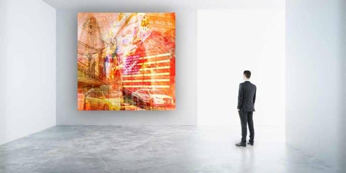 Collage Acryl New York City. Pop-Art Bilder auf Leinwand, Acryl und Glas