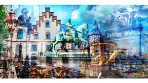 Collage Altstadt Düsseldorf Kunst | Modernes Pop-Art Motiv