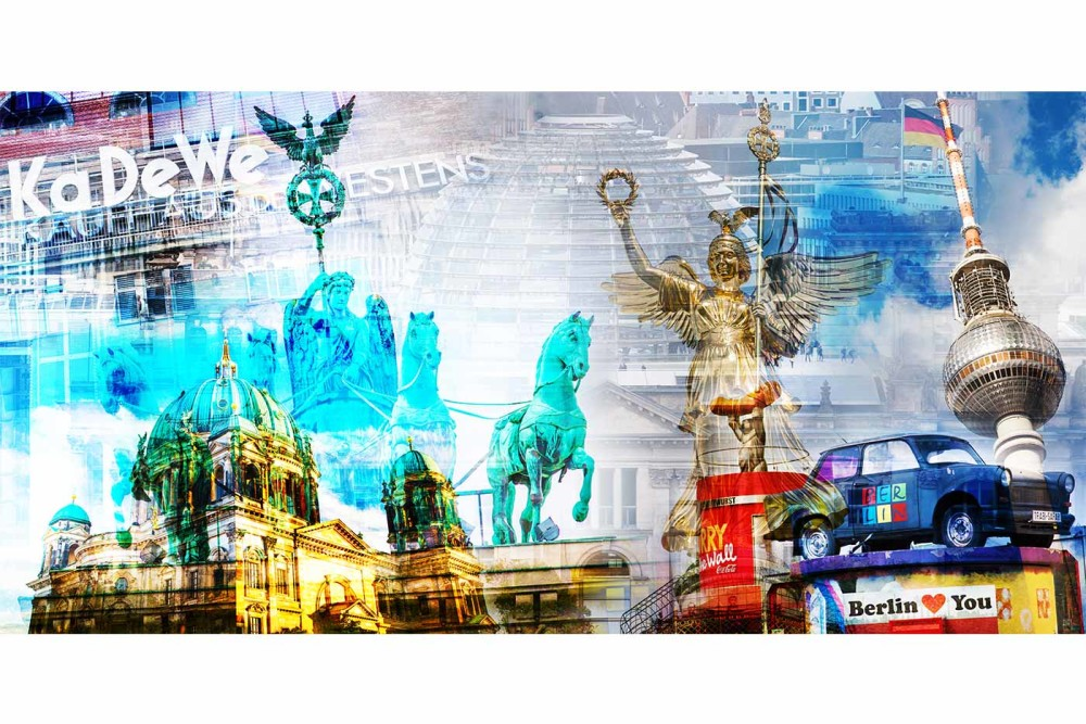Collage berlin als pop art kunst bilder im panorama format - Fotocollage auf leinwand ...