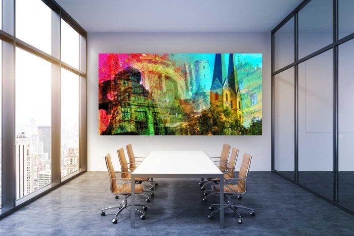 Collage Bielefeld und Panorama Bilder. Kunstbilder auf Acryl und Leinwand
