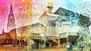 Collage Bochum Ruhrgebiet. Moderne Collage als Pop-Art Panorama Kunstbild