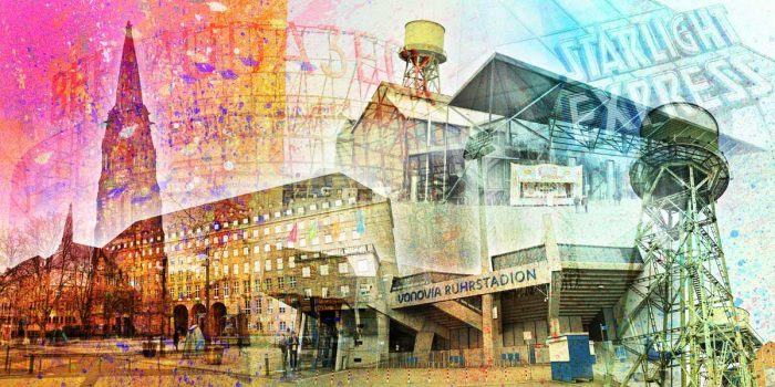 Collage Bochum Ruhrgebiet. Moderne Collage als Pop-Art Panorama Kunstbild