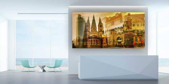 Collage Bonn am Rhein. Kunstbilder und Collagen mit Stadt Motiven.