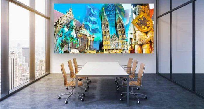 Collage Bremen aus der Hansestadt. Panorama Kunstwerk auf Leinwand