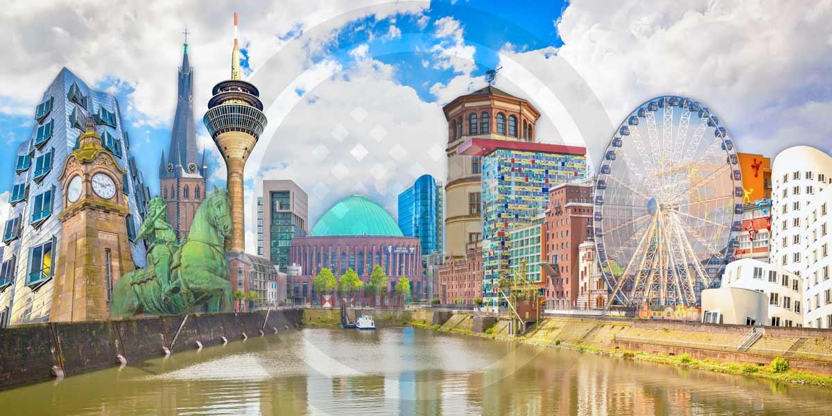 Collage Düsseldorf am Rhein. Moderne Leinwandbilder und Wandbilder