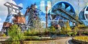 Collage Duisburg Panorama Bild mit Wahrzeichen aus dem Ruhrgebiet