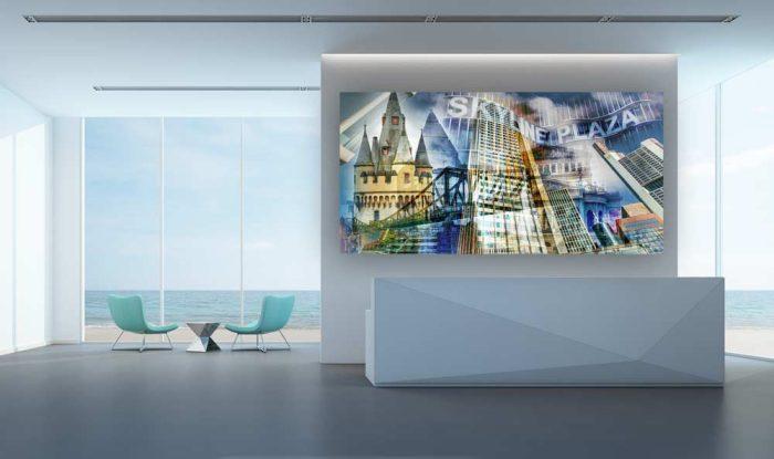Collage Frankfurt am Main. Panorama und Kunstbilder in Galerie Qualität