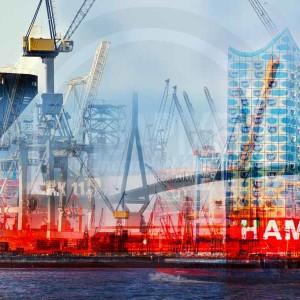 Collage Hamburg | Kunst Panorama Bilder von der Elbe