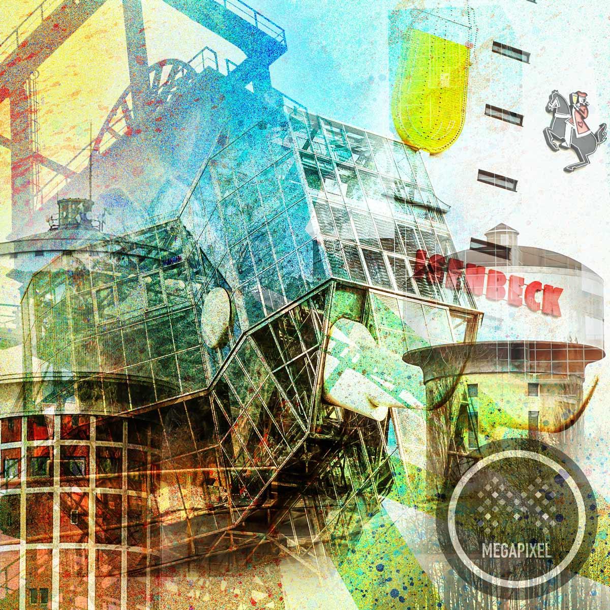 Collage Hamm als Kunstdruck im Pop-Art Style. Moderne Wandbilder